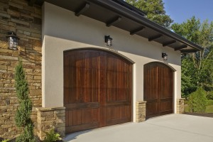 Custom garage door design with wood finish