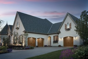 Home with wood garage doors