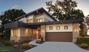 Modern home and garage door