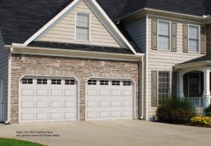 Home front with garage door