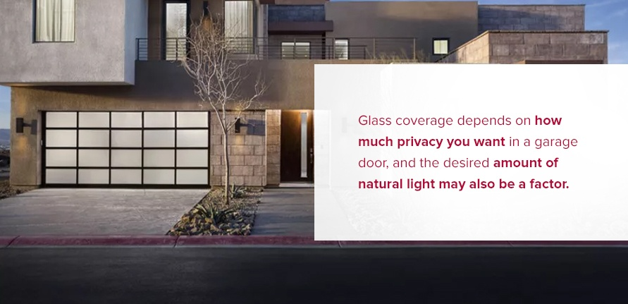Glass coverage depends on how much privacy you want in a garage door, and the desired amount of natural light may alsobe afactor.