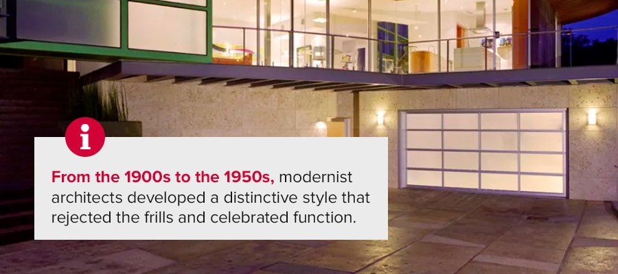 From the1900s to the 1950s, modernist architects developed a distinctive style that rejected the frills and celebrated function.