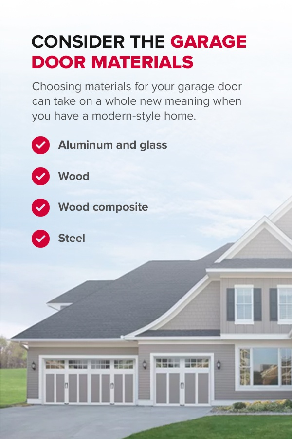 Consider the Garage Door Materials. Choosing materials for your garage door can take on a whole new meaning when you have a modern-style home.