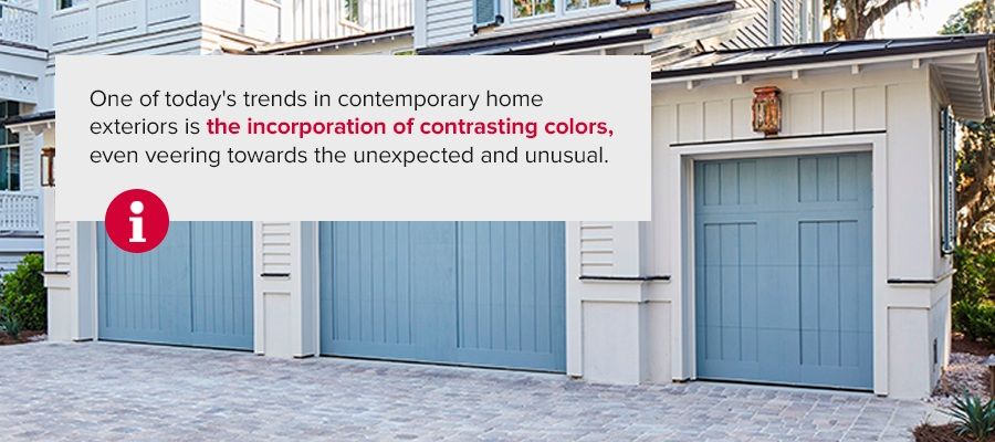 One of today'strends in contemporary home exteriorsis the incorporation of contrasting colors, even veering towards the unexpected and unusual.