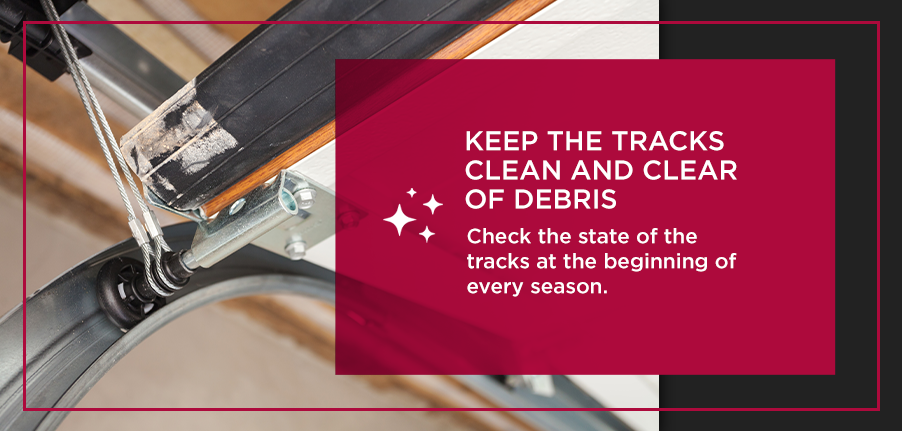 Keep the Tracks Clean and Clear of Debris. Check the state of the tracks at the beginning of every season.