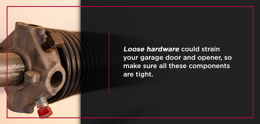 Loose hardware could strain your garage door and opener, so make sure all these components are tight.